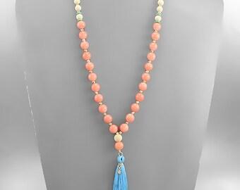 Pale Blue Tassel & Peach Stone Necklace