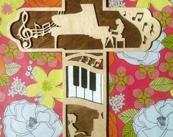 Piano Cross, Musician Cross, Piano Teacher Gift, Piano Player Present