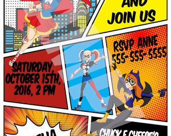 DC Superhero Girls Party Invitation - Digital