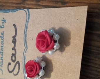 Rose and Pearl Earrings.