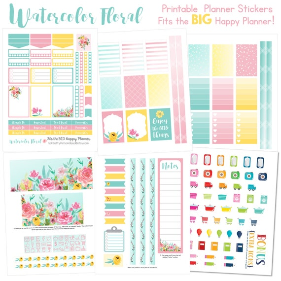 Watercolor Floral - Fits The BIG Happy Planner (8.5 x 11) - Printable Planner Stickers - 6 Full Pages!