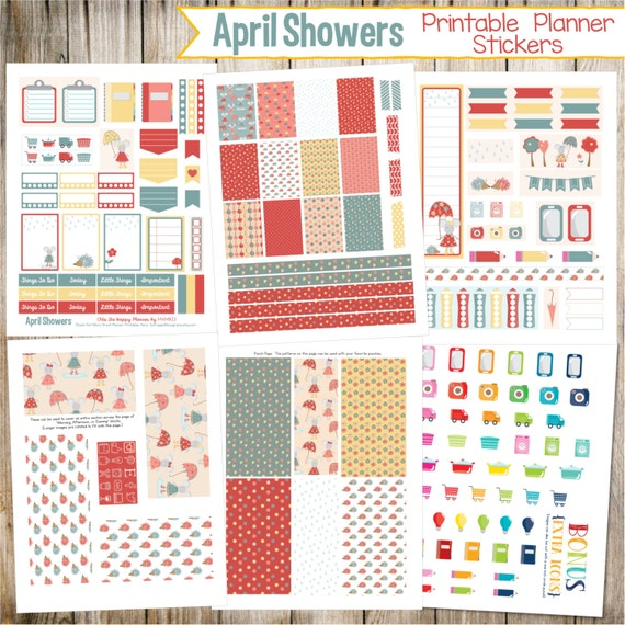 April Showers ~ Rainy Day ~ Printable Planner Stickers - 6 Full Pages!  (Made to fit The Happy Planner by MAMBI - Create 365)