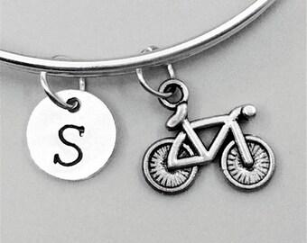 Bike Charm Bracelets, bicycle Bangles, bicycle Bracelets, bicycle Charm Bangles, Personalized Bracelets, Monogram Bangles, Initial Bangles