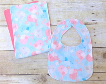 Baby Birdie Bib and Burp Cloth Set, Bird Nursery, Bird Baby Shower, Birdie Baby, Bird Baby, Girl Baby Shower, Pink Bird, Pink and Blue Gift
