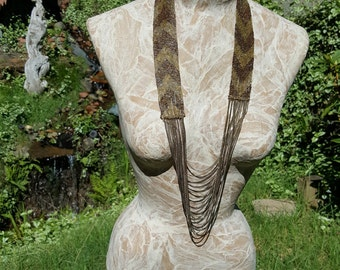 1920's Art Deco Copper Seed Bead And Chain Flapper Necklace Chevron Pattern