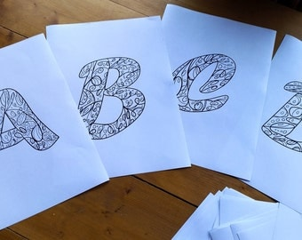 Adult Zentangle Coloring Floral Alphabet