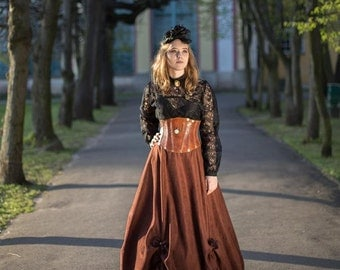 Long brown steampunk skirt with one hoop and drapery