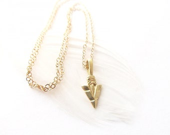 Arrowhead Necklace, Gold Arrow Necklace, Layering Necklace, Gift for Her, Gold Arrow Head, Arrowhead Jewelry
