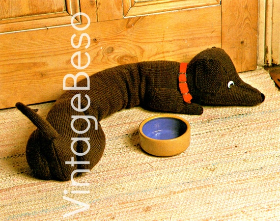 Draught Excluder KNITTING PATTERN Dachshund by VintageBeso ...
