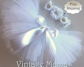 Classic White Tutu with Matching Headband - for Newborns up to 3yr old Girls