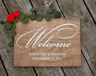 Wedding Welcome Sign - Formal Font - Wooden Wedding Signs - Wood
