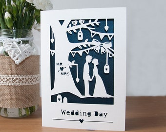 Wedding Card - Handmade Paper Cut - 5x7 Inches With Pearlescent Paper Inlay