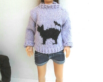 Sweater with cat for Lammily doll, hand knit, pullover and hat, Lammily clothes, MADE TO ORDER
