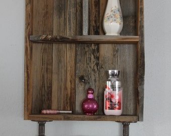 Reclaimed Wood Shelves, Medicine Cabinet, Cubby Shelf, Bathroom Wall Cabinet,  Farmhouse Decor