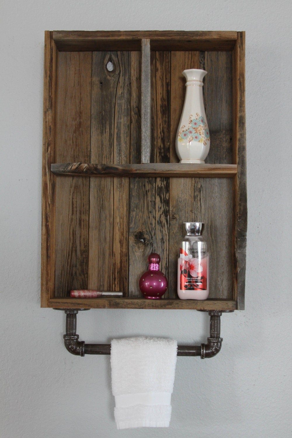 Reclaimed Wood Cabinets ~ Industrial shelf reclaimed wood shelves medicine