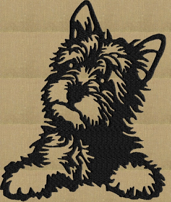 Yorkshire terrier yorkie embroidery design file instant