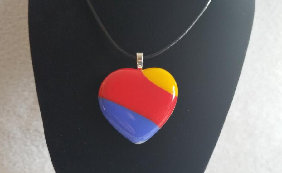 Handmade Southwest Airlines Fused Heart Glass Pendant By