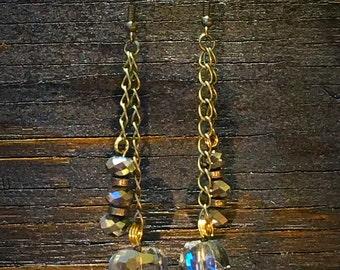 Chrystal & Brass Earrings