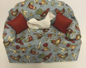 sofa tissue box cover-- roosters, ducks and chickens