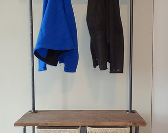 Industrial Pipe Entry Bench with Built-In Coat Rack