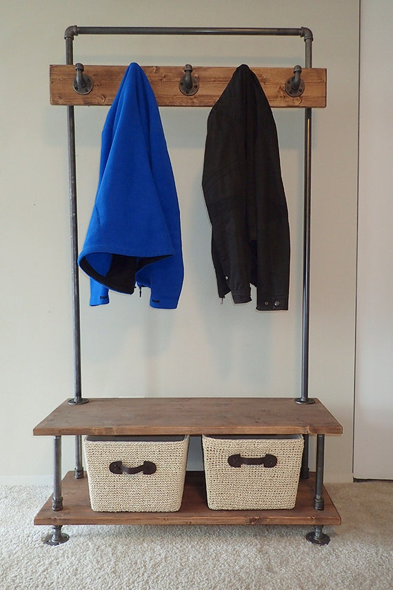 industrial pipe entry bench with built in coat rack. Black Bedroom Furniture Sets. Home Design Ideas