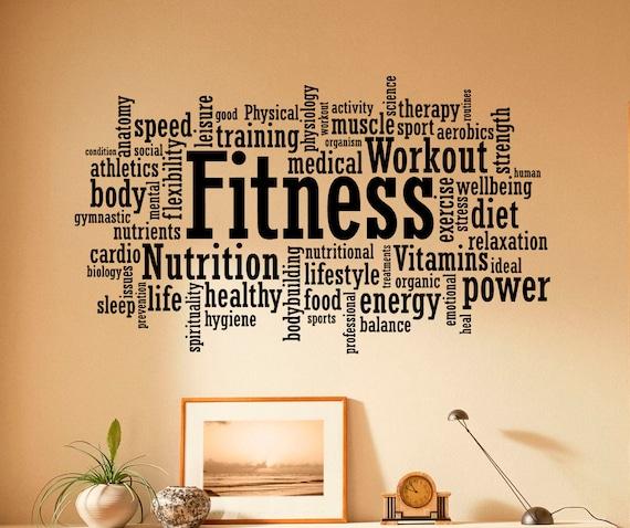 Remise en forme wall decal vinyle autocollants sport gym mots