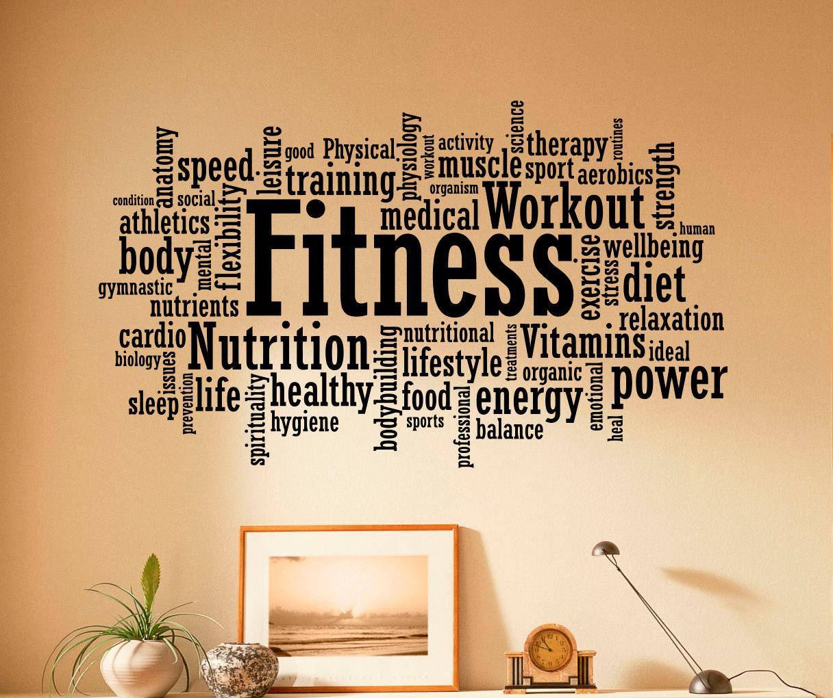 fitness wall decal vinyl stickers sport gym words interior home design art murals wall graphics decor - Wall Graphic Designs
