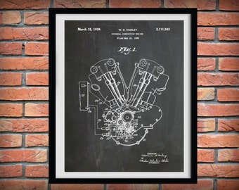 Patent 1936 Harley Knucklehead Engine - Poster - Wall Art - Harley Davidson - Bike - Motorcycle - Hells Angels - Gift Idea - Harley Hog
