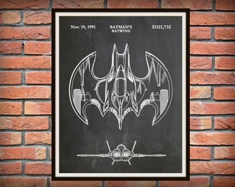 Patent 1991 Batman Bat Wing - Art Print - Poster Print - Wall Art - Batman Batwing - Comic Book Art - Sci-Fi Hero - Gotham Knight