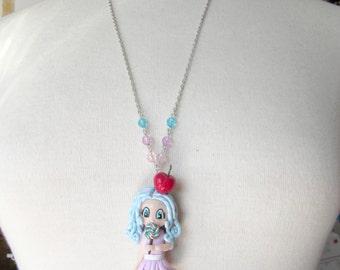 Necklace Sautoir Chibi Gourmande Kawaii Pastel polymer