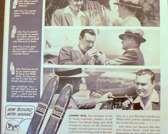 1940 Johnny Mize WhitelOwl Cigar Ad New York Yankees
