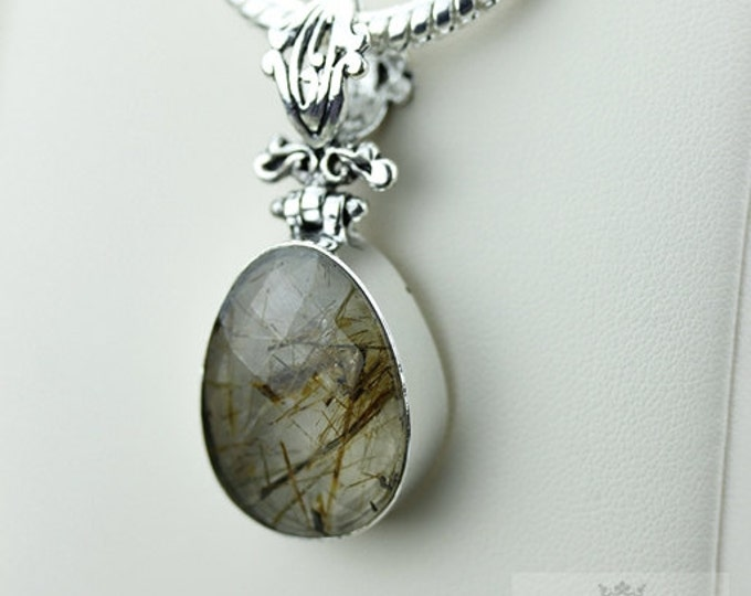 Rutilated quartz 925 S0LID Sterling Silver Pendant + 4MM Snake Chain & Free Worldwide Shipping p3548
