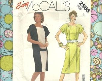 McCalls 2565 Easy Misses Dress Size J. - Complete& Uncut