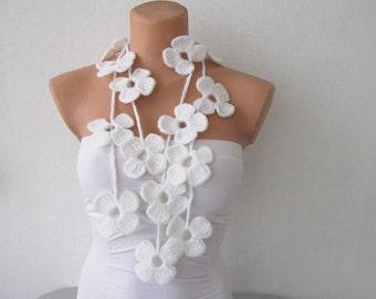 White Flower Scarf Hand Crochet Lariat Scarf