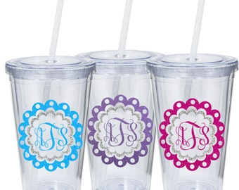 Personalized Monogram Glitter Double Wall Tumbler with Straw Gift