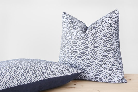 Scandinavian Geometric Pillow Cover White and Blue Gray