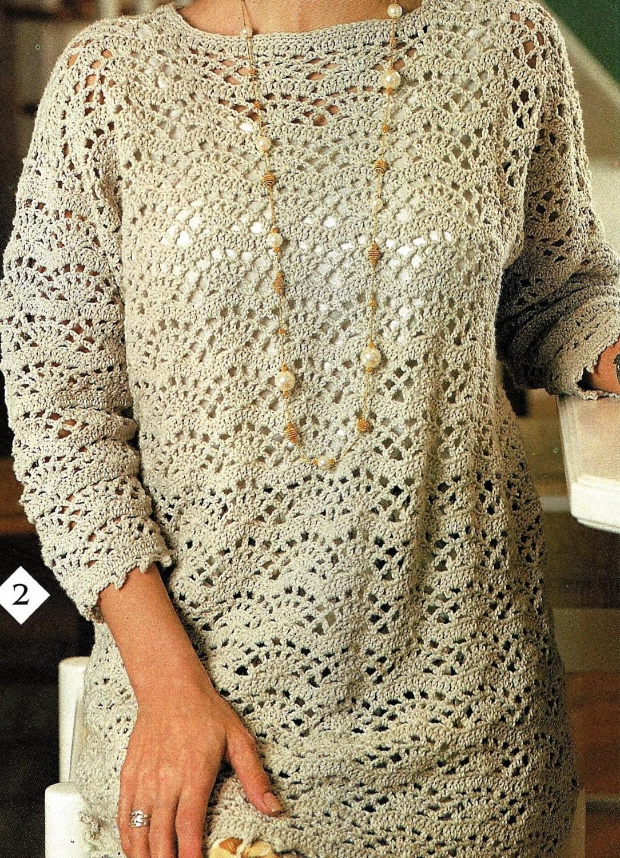 Crochet Tunic Top Pattern Easy Fan Lace Tunic Pattern Women