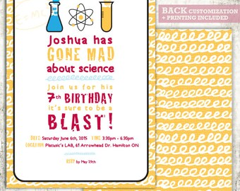MAD SCIENCE Invitation // Birthday Party Invite // Mad Scientist// 7th Birthday Party // PRINTED Invites