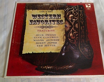 Country And Western Favorites Vinyl. Buck Owens, Glen Campbell, Sonny James, Wanda Jackson. 33 LP Vinyl Record Album.