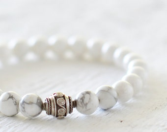 White silver bracelet howlite bracelet gift for her jewelry handmade bracelet gift idea birdhday gift minimalist bracelet silver