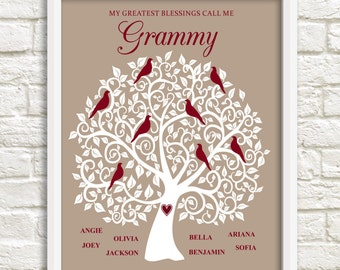 Gift for Grammy, Personalized Family Tree for Grammy, Mother's Day Gift for Grammy, Grammy Family Tree, Custom Family Tree, Custom Wall Art