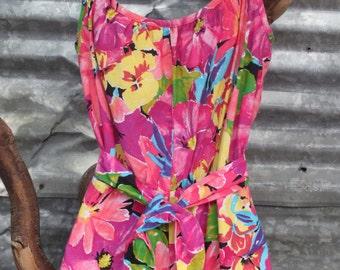 Vintage 1970s Catalina Romper / Jumpsuit / High Waist / Hot Pants / 100% Cotton / size 8 small-medium
