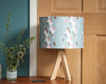 Geometric lampshade, hexagons, turquoise, coral, origami pattern, graphic design, 15cm or 30cm diameter