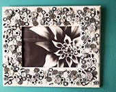 "5"" x 7"" Black and White Button Collage Picture Frame with Jewels"