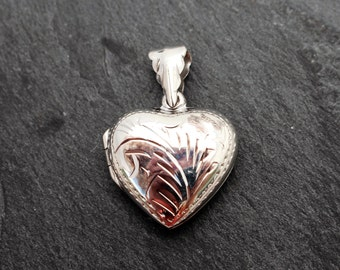 Sterling Silver Heart Locket, Etched. Pendant