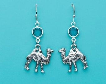 Camel Earrings, Dromedary Earrings, Blue Zircon Crystal Earrings, Animal Earrings, Dangle Earrings, Gifts for Her, 58