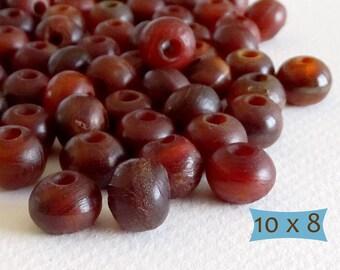 Ochre Brown Horn Rondelle Beads--10 Pcs   20-HN2110A-10