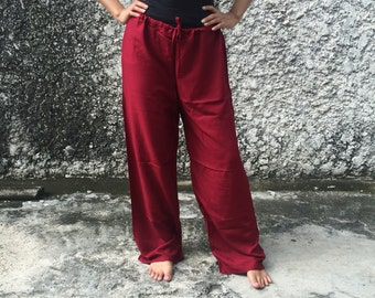 Red Self tie Lounge Massage pants Trousers Solid color Soft Yoga Genie Hippies Boho Fashion Style Gypsy Cloth For Exercise Beach Women