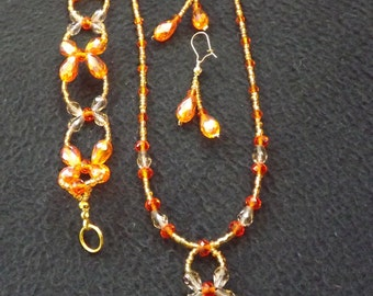 Flame Orange Crystal Jewellery Set