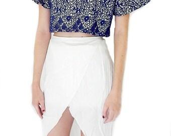 Crop blouse, blue print, handmade